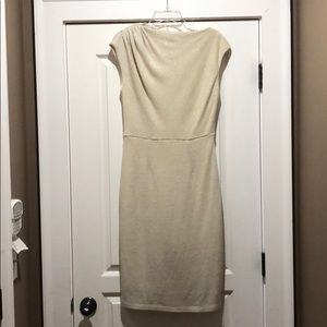 Dresses & Skirts - Cream Knit Sheath Dress with Gold Metallic Accents